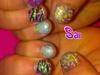 neon glitter kids nails.