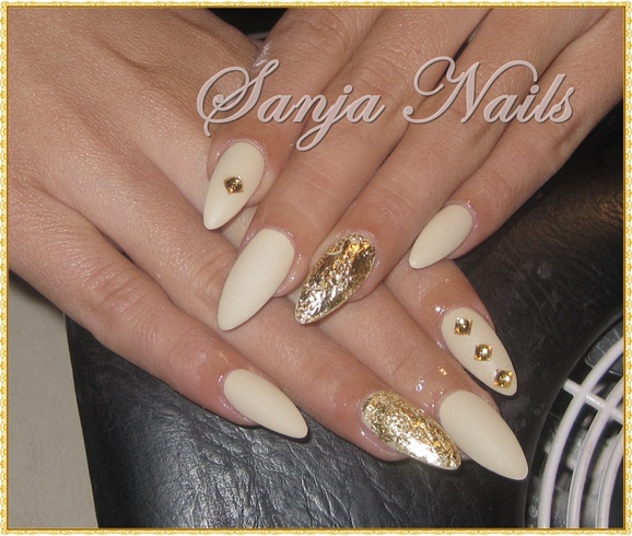 Beige - Gold - Beige - Gold - Nail Art Gallery