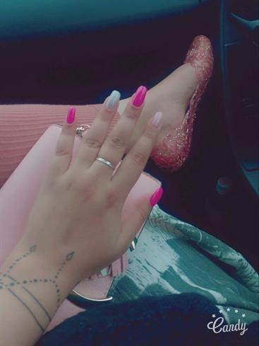 Pink Glitter Nude Acrylic