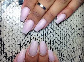 nail art: Matte sparkly coffin nails