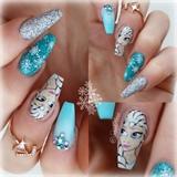 hand painted elsa, frozen nails
