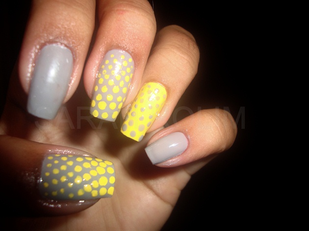 Grey Yellow Nail Art Gallery