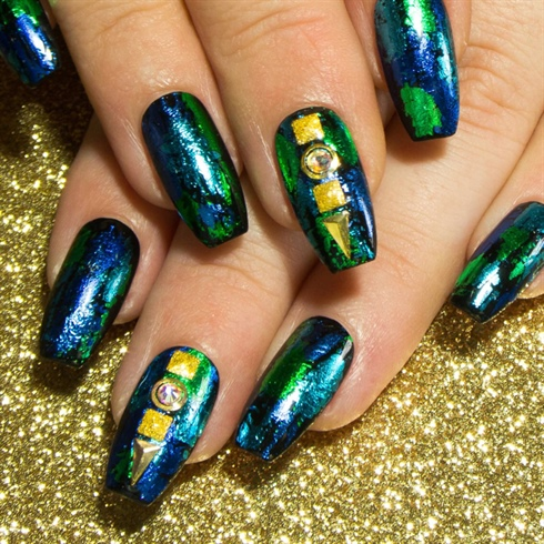 Blue & Green Foils - Coffin Nails