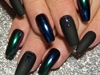 Matte Black & Blue/Green Chrome Ombre