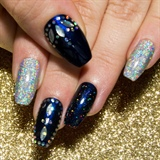 Navy Glitter Placement & Galaxy Chrome