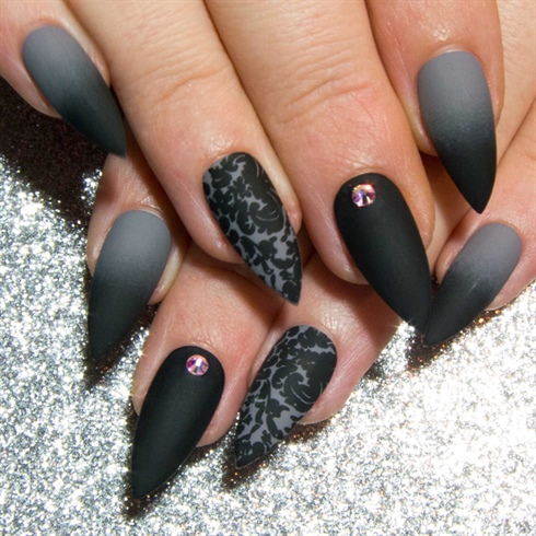 Matte Black Grey Damask Ombre Nail Art Gallery