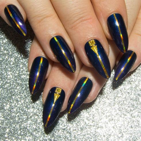 Navy - Purple Ombré & Gold