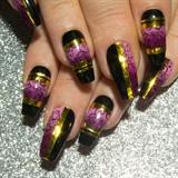 Purple Black & Gold Colour Blocking