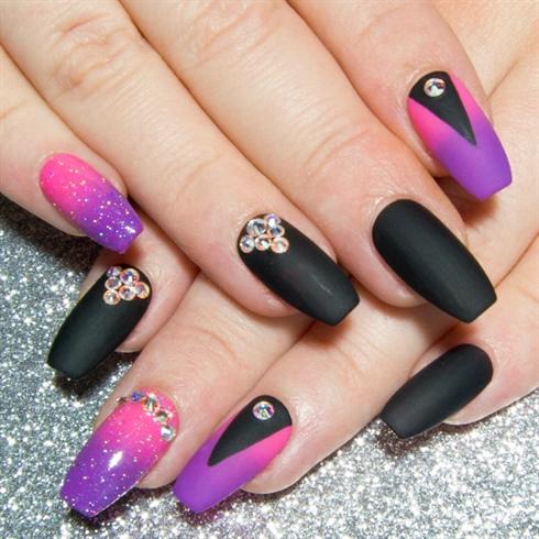 Neon Pink Purple Black & Swarovski.