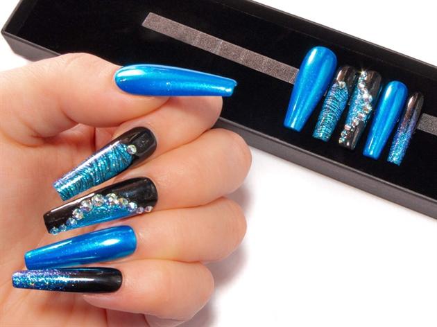 Dark Ocean Blue Chrome Black & Swarovski