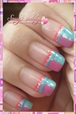 Pink and Blue French Tip