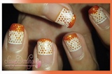 Lace in Orange French Manicure