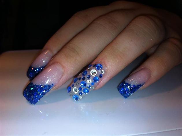Blue Swarovski On Spanish Manicure Nail Art Gallery