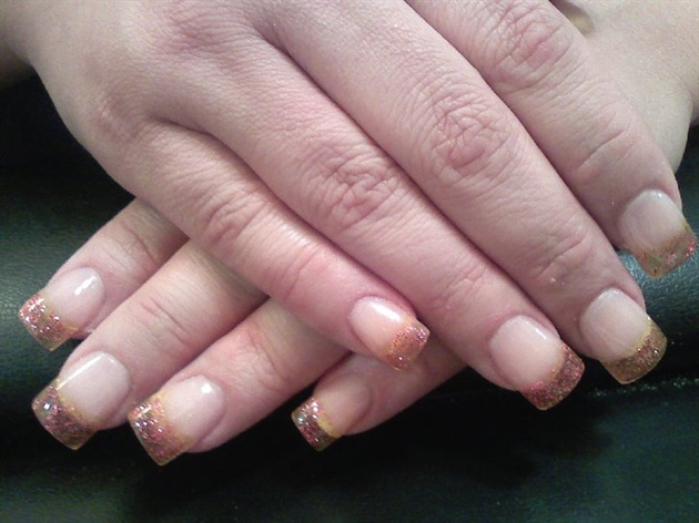 yellow clear with pink sparkle