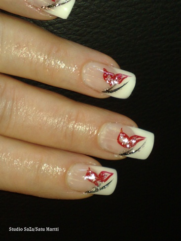 French white with black & red decoration