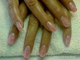 .Orange glitter with pink gel