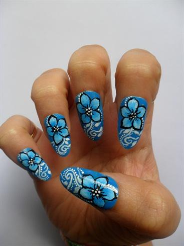 one stroke blue flower