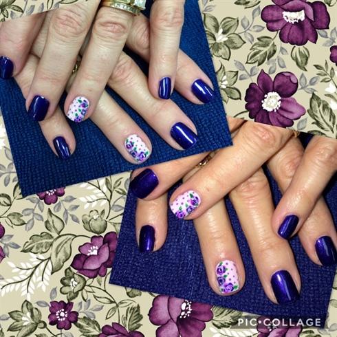 Purple Flowers, Spring Manicure