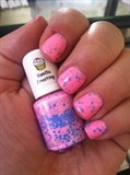 Bright Pink W/Blue Speckles Polish