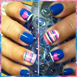 Stripes/Heart Nail Art
