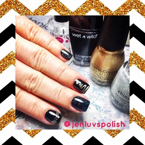 goldblack christmas nails - Black Christmas Nails
