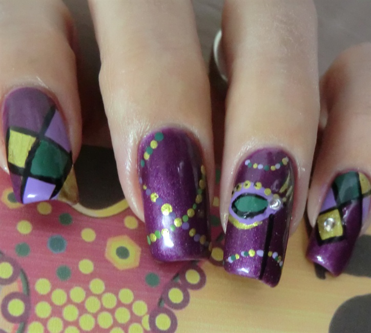 Mardi Gras Mask - Nail Art Gallery