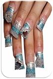 Blue Glitter Encapsulated Nail Art