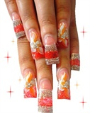 Peach Nails with Hand Painted Flowers