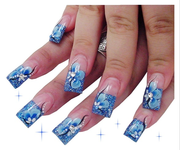 Blue Glitter Hand Painted Floral Nails
