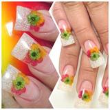 Glitter & Flowers Nail Art Design