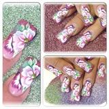 Glitter Dust Floral Nail Art