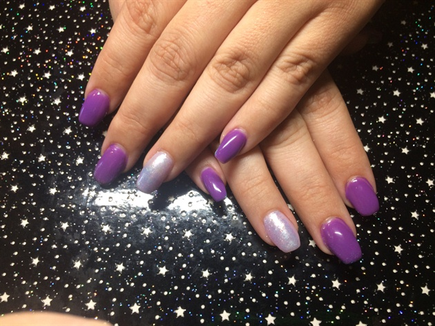 Mermaid Glitter with purple Gel Polish
