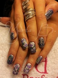 glitter nails with flowers