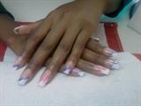 art nail i pink and purple