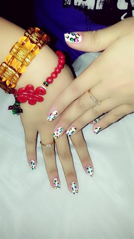 cute rainbow leopard nail art