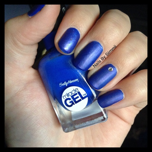 Mattefied blue with sheer purple overlay