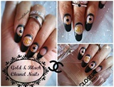 Gold & Black CHANEL nails