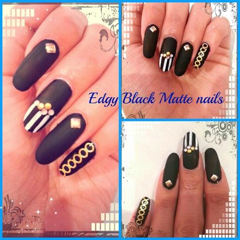 Edgy Black Matte nails