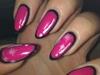 Cartoon nails, Hot pink and black.