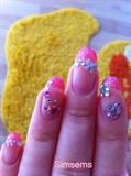 Acrylic pink tips with rhinestones