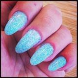 Aqua Blue Embedded Glitter Acrylics