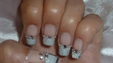 french tip with lace, beads, rhinestones