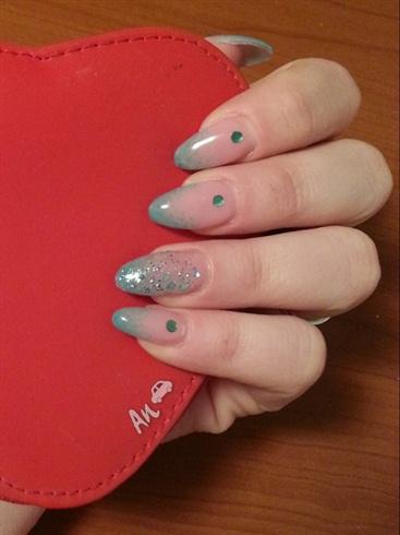 Greenish Almond Nails