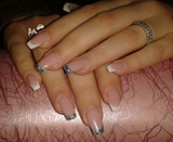 White and Mixed Glitter French Nails