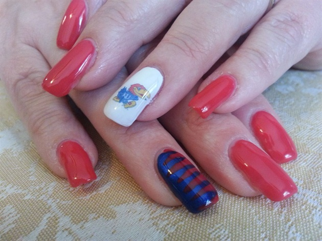 Kansas University Jayhawk Game Day Nails Nail Art Gallery