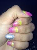 Sunset Glitter Nails