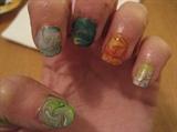 multi colour marble nails