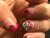 Pink Tips W/Heart Nail Design