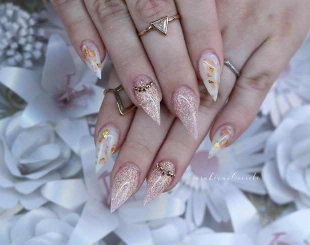 Hard gel nails light elegance