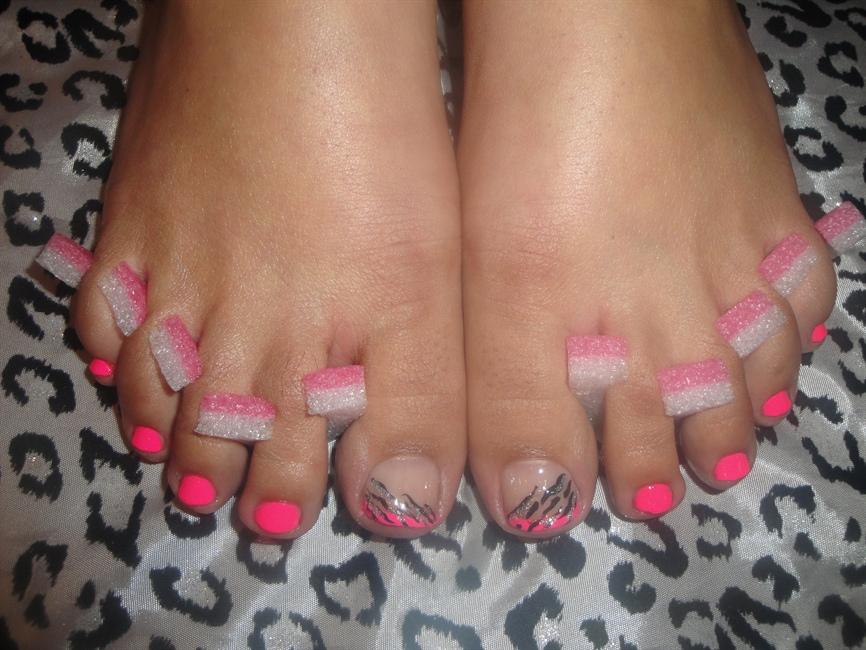 Hot Pink Toe Nail Art Nailarts Ideas